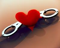 Liebesherz in den Handschellen Stockbild
