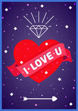 Liebesherz im Raumplakat Stockbilder