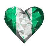 Liebesherz-Nigeria-Flagge Stockfotografie