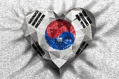 Liebesherz-Südkorea-Flagge Stockbilder