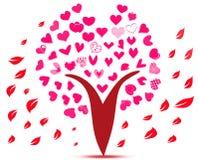 Liebesherzblumen auf rosa Baum Vektor Abbildung