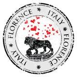 Liebesherzreiseziel-Schmutzstempel mit Symbol von Florenz, Statue eines Löwes, Italien, Vektorillustration Stockfotos
