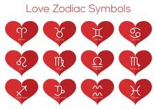 Liebeshoroskopsymbole Tierkreiszeichen des Tierkreises Vektorsatz der flachen dünnen Linie Ikonen im roten Herzen Stockfotos