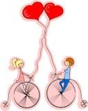 Liebesjunge und -mädchen fahren Fahrrad, a   Lizenzfreie Stockbilder