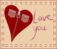 Liebeskarte mit Art und Weiseinnerem Lizenzfreie Stockfotos