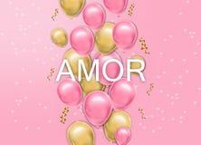 Liebeskarte mit Ballone Vektor realistisch Rosa und gelbe frohe bunte Postkarten lizenzfreie abbildung