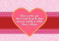 Liebeskarte mit einem Retro Kennsatz Stockbilder