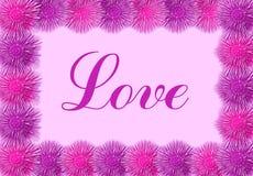 Liebeskarte mit rosafarbenen Blumen Lizenzfreie Stockfotos