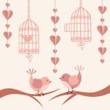 Liebeskarte mit Vögeln lizenzfreie abbildung