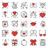 Liebeslinie Ikonen eingestellt Glückliche Valentinstagzeichen und -symbole Liebe, Paar, Verhältnis, Datierung, Hochzeit, Feiertag stock abbildung