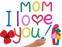 Liebesmeldung des Plasticinekindes für Mutter Lizenzfreies Stockbild