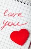 Liebesmitteilung lizenzfreies stockbild