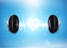 Liebesmusikkonzept Kopfhörer mit Schallwelle und Herzen Stockbilder