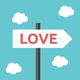 Liebesrichtungs-Verkehrsschild Stockbild