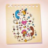 Liebestelefongesprächbriefpapier-Karikaturillustration Lizenzfreie Stockbilder