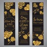 Liebestext auf Satz romantischer Beschriftung der Fahnen mit Funkeln Goldener Text mit Scheinen Karten für Valentine Day Vektor stock abbildung