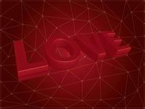 Liebestext des Vektors 3d auf rotem Hintergrund. Stockbild