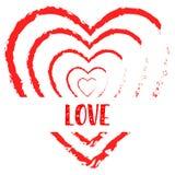 Liebestextblutherzdesign-Schmutzhintergrund Stockfoto