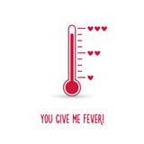 Liebesthermometer Sie geben mir Fieberkarte stock abbildung