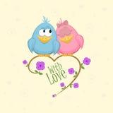 Liebesvögel auf dem Zweig lizenzfreie abbildung