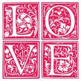 Liebeswort gemacht von den Blumen und von den Blättern Hochzeitseinladungsdesign Vektor-Kunstillustration auf einem weißen Hinter lizenzfreie abbildung