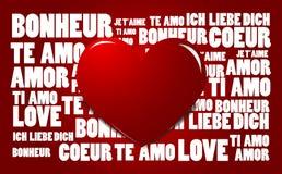 Liebeswortwolke mit rotem Innerem Lizenzfreie Stockfotografie
