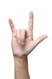 Liebeszeichen von der Frauenhand Stockbilder