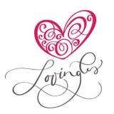 Liebevoll Text und Herz Lieben Sie Sie Postkarte Drücken Sie für Valentinsgrußtag aus Tintenillustration Moderne Bürstenkalligrap stock abbildung