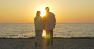 Liebevolle ältere Paare, die Sonnenuntergang über Meer genießen stock video footage