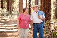 Liebevolle ältere Paare draußen lizenzfreies stockbild