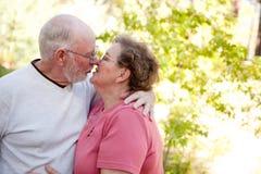 Liebevolle ältere Paare draußen Lizenzfreies Stockfoto