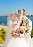 Liebevolle geschützte Schleierbraut der Braut und des Bräutigams stockfotos