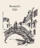 Liebevolle gezeichnete Vektorskizze der Paare stehende Brücke lizenzfreie abbildung