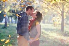 Liebevolle Paare, die im Park im Sonnenlicht auf Bäume backg küssen Stockfotos