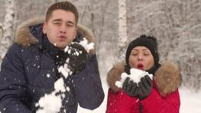Liebevolle Paare, die in Winterpark und -c$lächeln gehen stock footage