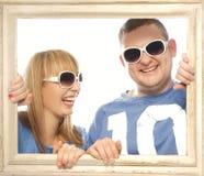 Liebevolle Paare im Bilderrahmen Stockbilder