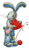 Liebevolle Paare Kaninchen und Herz Illustrationsaquarell Stockfoto