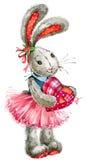 Liebevolle Paare Kaninchenschatz Illustration, Aquarell, Lizenzfreie Stockbilder
