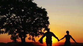Liebevolle Paare am Rand des Waldes bei Sonnenuntergang des Tages stock footage