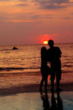 Liebevolle Paare am Sonnenuntergang Stockfotos
