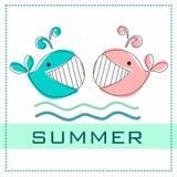 Liebevolle Wale das Aufschrift ` Sommer ` Walblick auf einander Valentinsgruß, Grußkarte, Visitenkarte für Liebhaber des Meeres Stockfoto