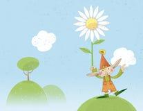 Liebevoller Elf, der eine Blume anhält Lizenzfreie Stockfotografie