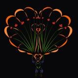 Liebevoller Mann auf einem Fallschirm, einem Herzen und Blumen Lizenzfreies Stockbild