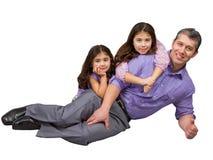 Liebevoller Vater, der ein Foto mit zwei Töchtern macht Stockfotos