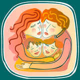 Liebevolles Familienumarmen Stockfotos