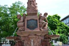 Liebfrauenberg fontanny opóźniona barokowa fontanna w starym miasteczku Frankfurt magistrala, Germany - Am - zdjęcia stock