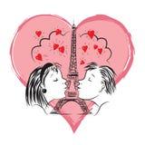 Liebhaber auf dem Hintergrund des Herzens Lizenzfreies Stockbild