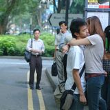 Liebhaber in der Straße lizenzfreies stockfoto