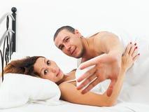 Liebhaber gefangen während des Ehebruches Stockfoto