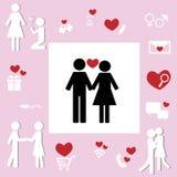 Liebhaber-Paar-Ikone des Schatz-Verhältnis-Konzeptes Stockfotografie